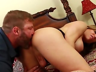 Busty tgirl slammed and creampied by inked mature stud