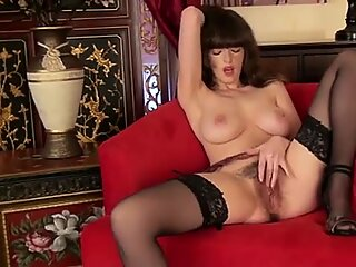 Bigtit milf fingers her hairy pussy