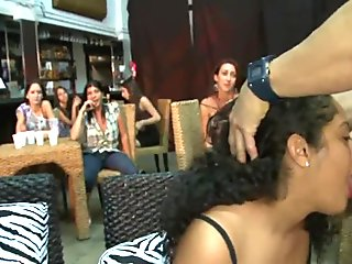 Sweethearts are sucking stripper'_s pecker wildly