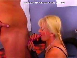Chubby blonde MILF in bodystocking says sorry with sex