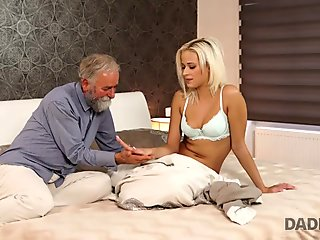 DADDY4K. Beautiful blonde embarks morning sex with handsome daddy
