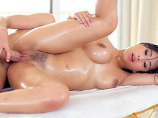 Slutty Asian with big tits is facialized after hard pounding