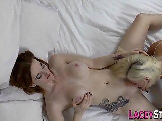 Kinky granny rides strapon cock