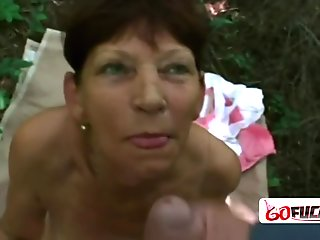 Wet shaved pussy pounded outdoors