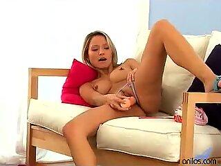 Milf Leticia reveals petite frame and fucks big dildo