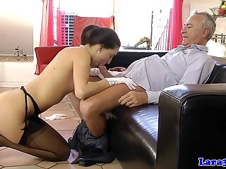 Euro milf doggystyled during threeway action