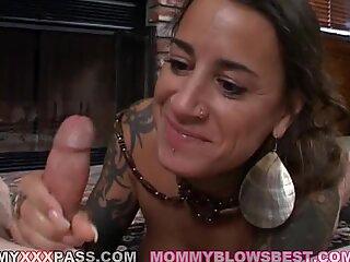 Brunette milf Mona Love is loving her man's shaft sliding in her sweet mouth
