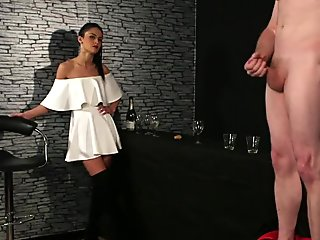 CFNM femdom instructs jerkoff at the bar