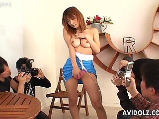 Shapely Japanese hoe Ai Kurosawa masturbates in front of her friends
