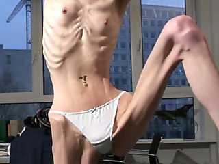 Anorexic Janine - Showing Off Incredible Skinny Lovely Body