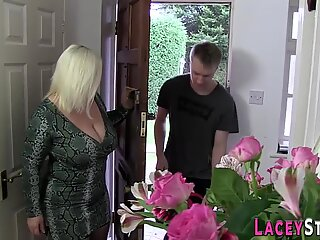 Chubby grandma gobbles cock and gets plowed